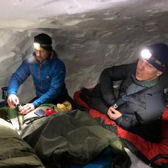 Dinner in a snowcave.