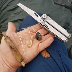 Improvised survival fishing gear.