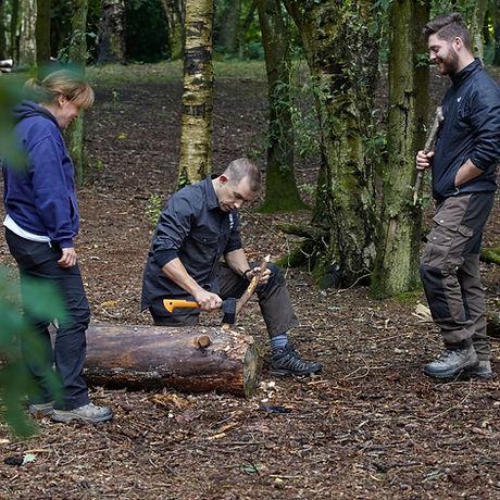 Andy teaching basic axe skills