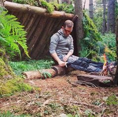 Bushcraft in the woods.