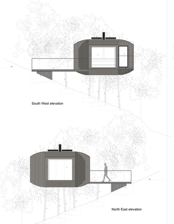 East and West elevations of Tree Hoose . 1:50