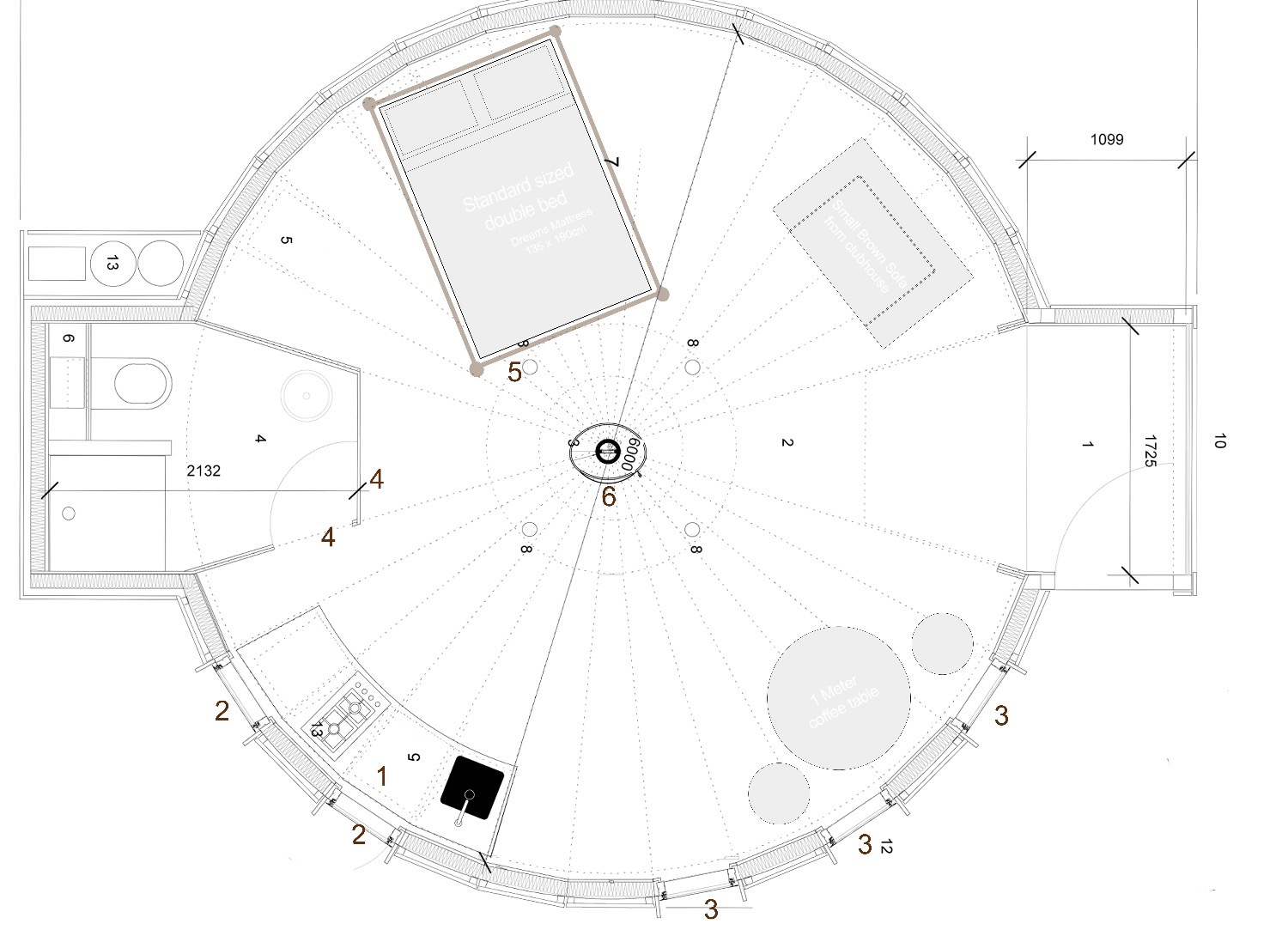 Original Echo Yurt floor plan