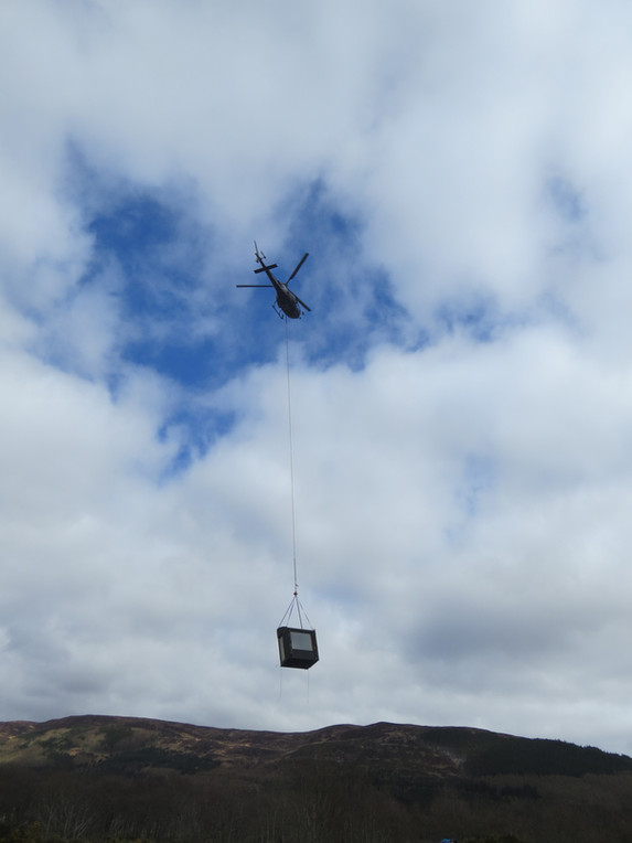Tree Hoose - Helicopter lift.