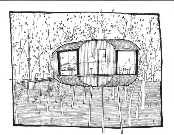 Taigh a Chnuic Tree Hoose original sketch