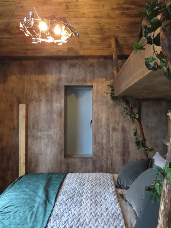 Treehouse Bedroom with shutter