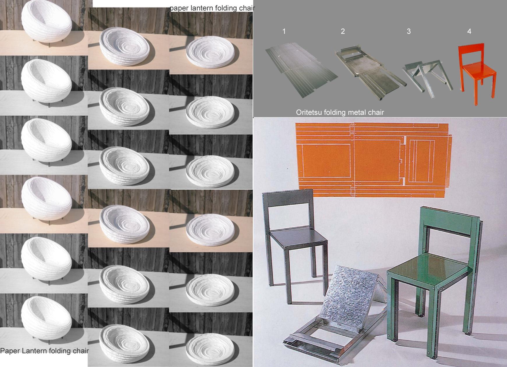 Lantern and Oritetsu chairs