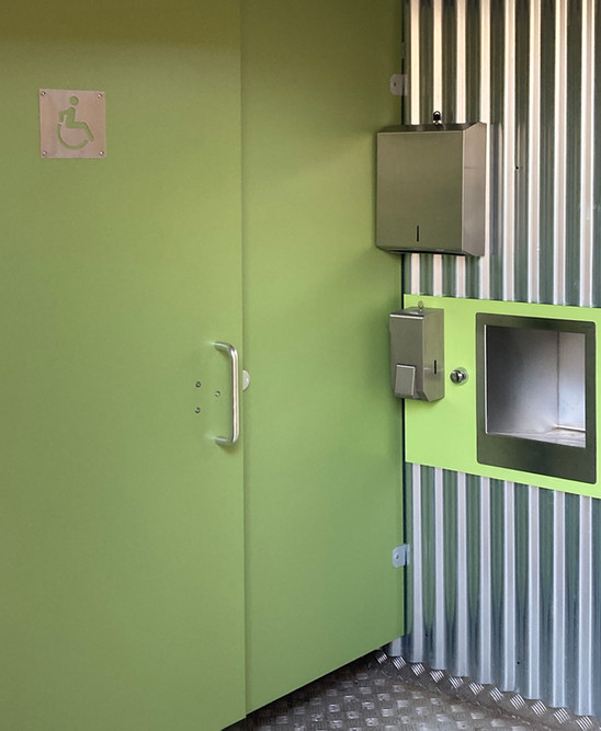 Toilets at the Visitors facility , Crawick Multiverse, designed and built by Echo Scotland