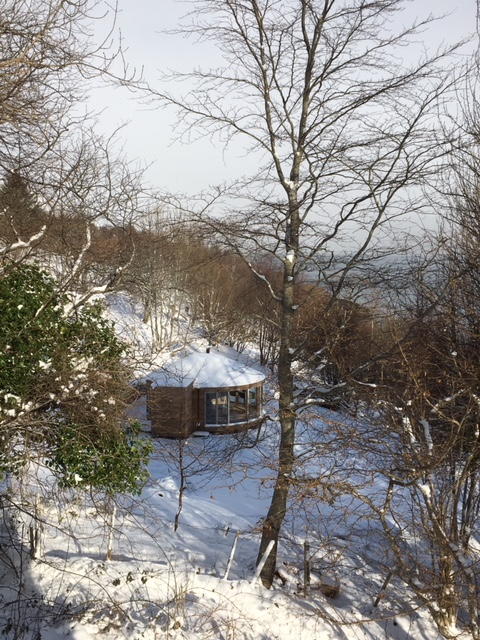 The Yurt nestles in the snowy woods