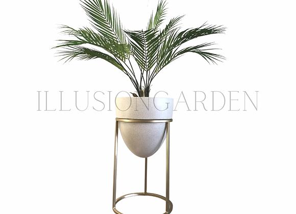 Planta artificial Palmera en Maceta ceramica acabado arenado c/pedestal  D 31 H