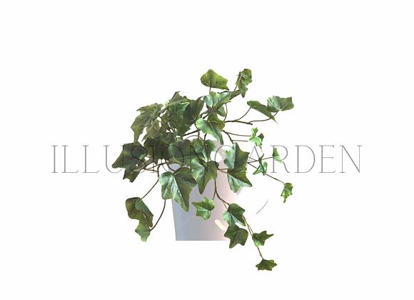 Planta artificial yedra pequeña en maceta blanca. Planta artificial
