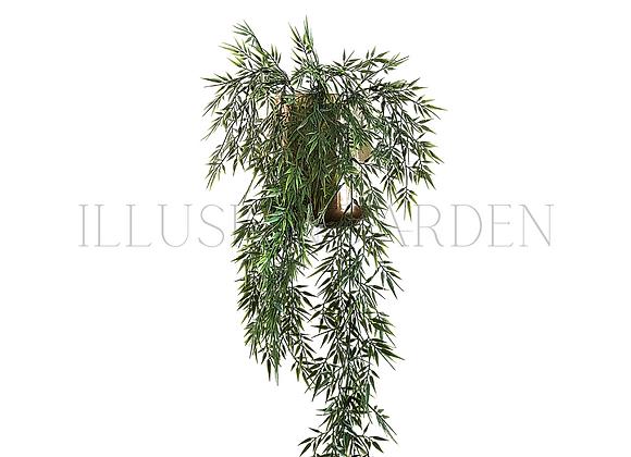 Colgante Bambu en maceta dorada 19x19 cm