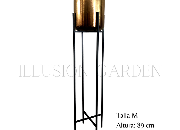 Maceta Cerámica Dorada D 19 cm c/pedestal negro H 89 cm