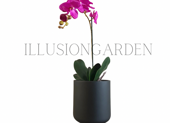 Orquídea color púrpura con maceta negra. Planta artificial