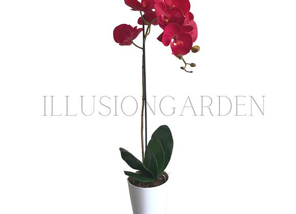 Orquídea artificial tallo largo rojo fresa en maceta