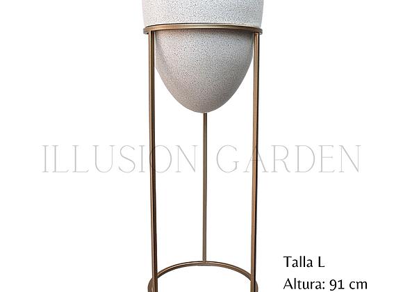 Maceta arenado claro D 35 con pedestal 91 cm