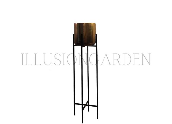 Maceta Cerámica Dorada D 19 cm c/pedestal negro H 82 cm
