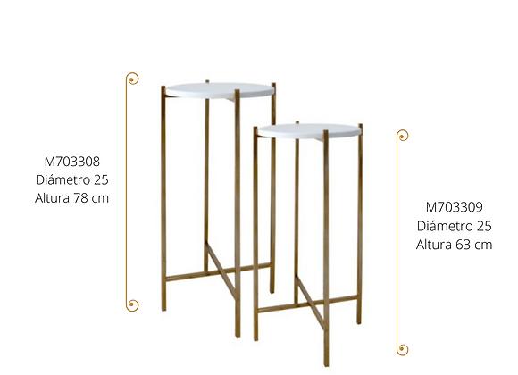 Pedestal acero dorado D 25 H 78