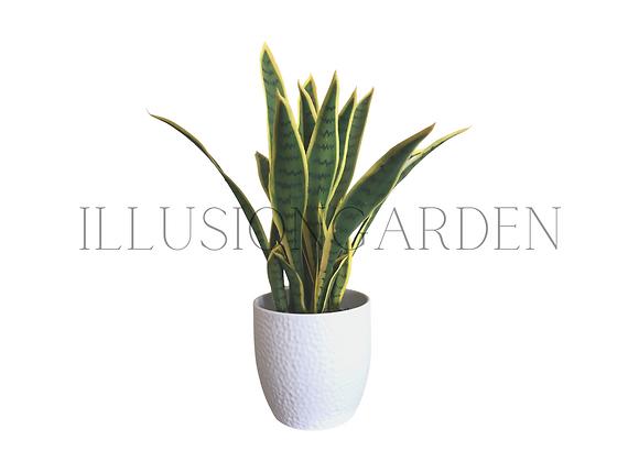 Planta artificial Lengua de suegra en maceta blanca