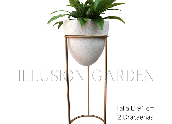 Planta artificiaDracaena con Maceta Arenado claro c/pedestal dorado D 35 H 91 cm