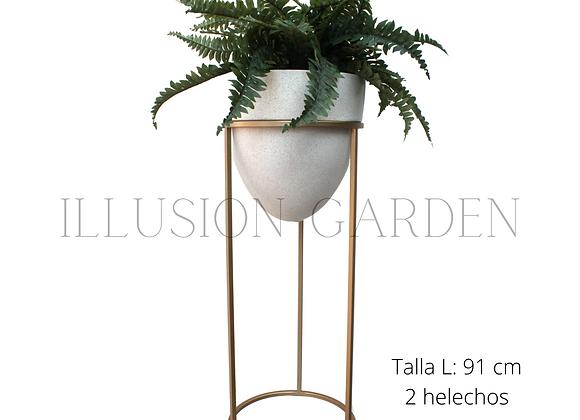 Helecho con Maceta arenado claro c/pedestal dorado D 35 H 91 cm