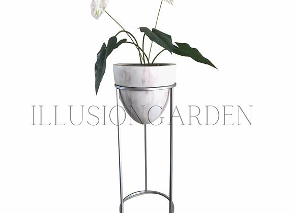 Planta Anturio artificial con maceta tipo marmol y pedestal