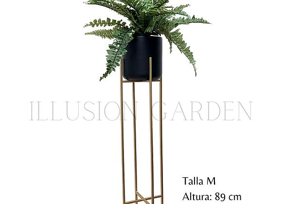 Helecho Life con Maceta Cerámica Negra D 19 cm c/pedestal dorado H 89 cm