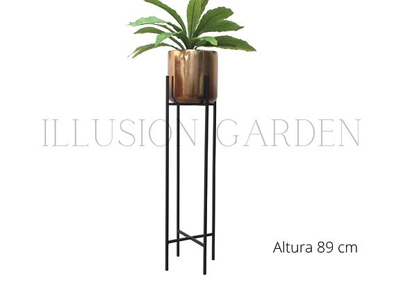 Planta Dracaena con Maceta Cerámica Dorada D 19 cm c/pedestal negro H 89 cm