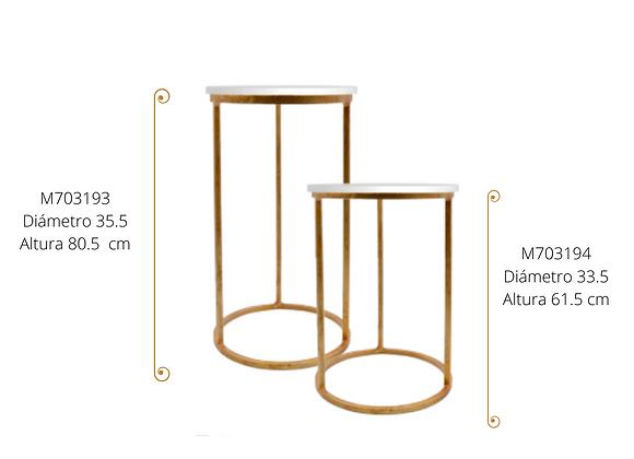 Pedestal fierro dorado /Tablero blanco  D 33.5 H 61.5