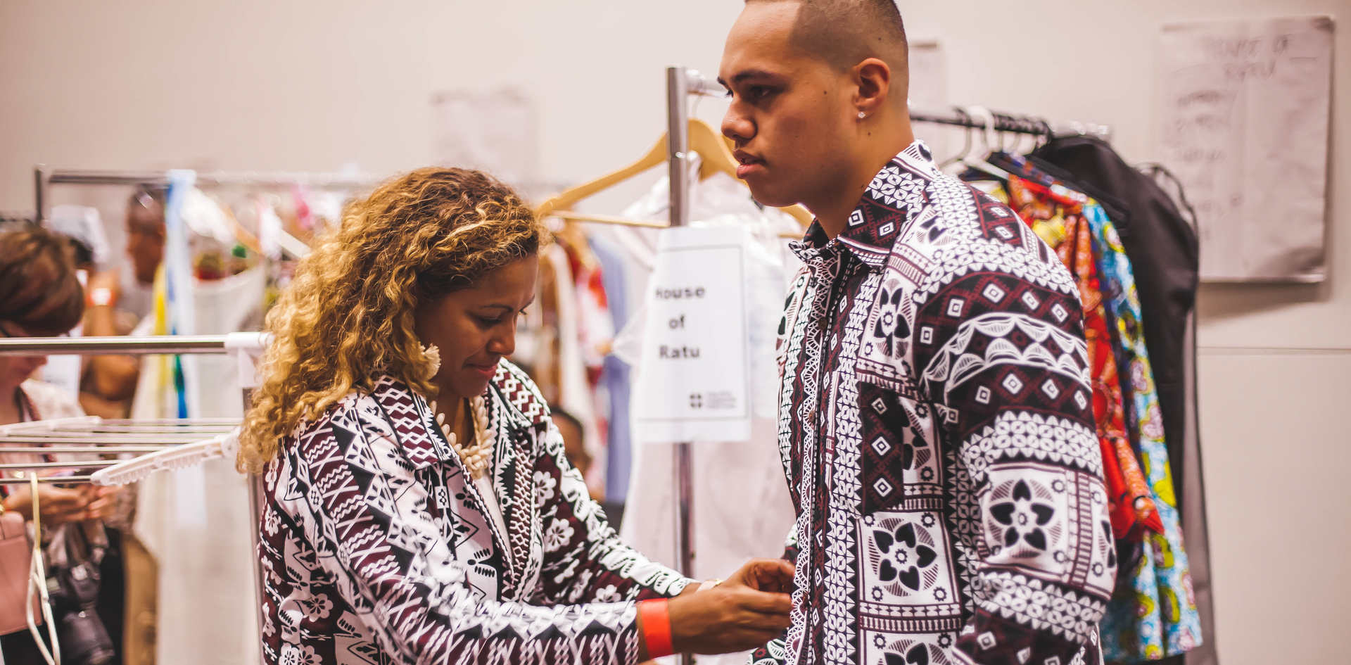 House of Ratu Men getting ready backstage with Designer, Miriam Ratu-Fairhead
