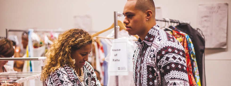 House of Ratu Men getting ready backstage with Designer, Miriam Ratu-Fairhead