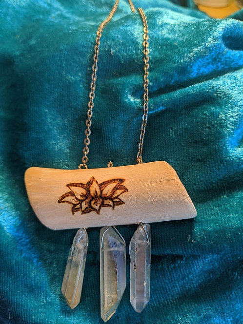 Reversible Crystal Wood Necklace: Lotus/Moon