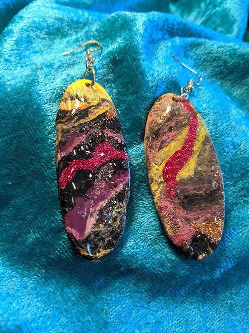 Abstract Earrings: pink/yellow/black