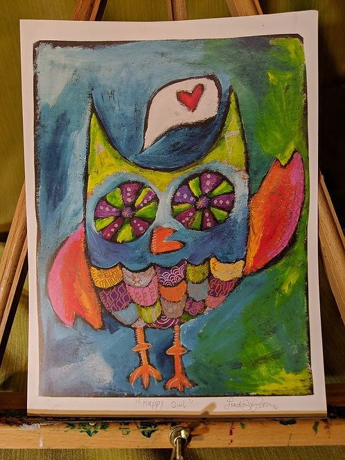 """Happy Owl"" 9 x 12 Art Print"