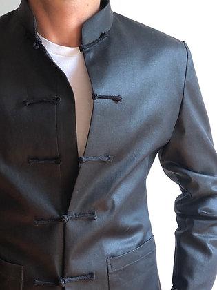 Men Jacket in black waxed denim