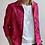 Thumbnail: La Frivole, chemise courte en brocart fleuri rouge et rose