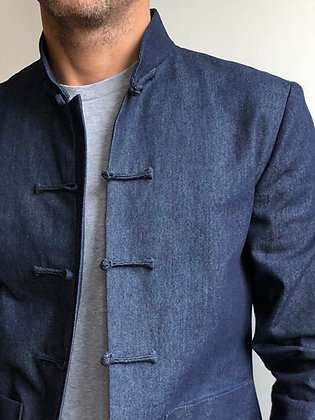 Men Jacket in navy raw denim