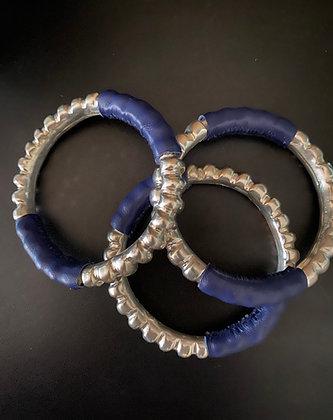 Bracelet Miao en cuivre et cuir marine