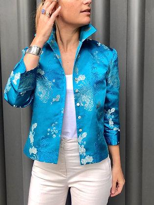 La Frivole, chemise courte en brocart fleuri turquoise