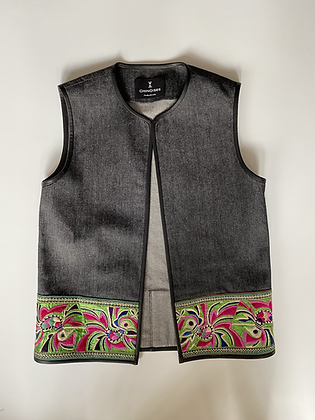 Gilet long à broderies Miao