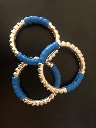 Bracelet Miao en cuivre et cuir bleu azur