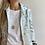 Thumbnail: La Frivole, chemise courte en brocart bleu glacier imprimé papillons