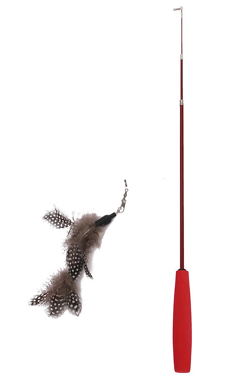 PetPals - Adjustable Feather Toy can be extended from 15 to 38 inches-Red