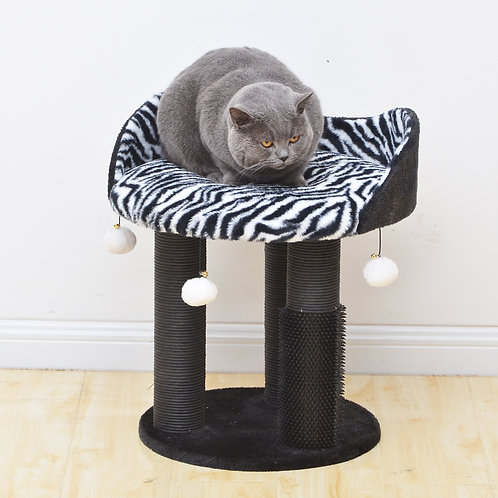 Petpals Zebra Print Small Cat Tree - Cozy Cat Tower with Scratching Post, and Ca