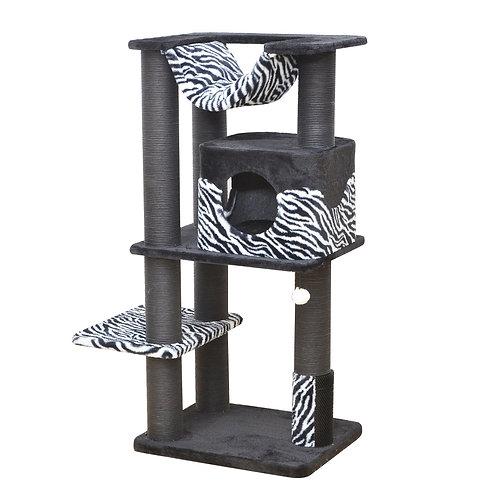 Petpals Zebra Print Cat Tree - Cozy Cat Tower with Scratching Post, Hammock, Per