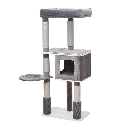 Oasis 4 level Cat tree with paper rope scratching post, massager, condo & perch