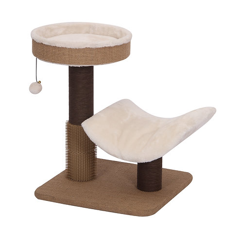 PetPals Cushy - Jute & Fleece Two Level Cat Tree with Perches, Scratching Posts,