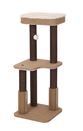 PetPals Balmy - Jute & Fleece Two Level Cat Tree with Perch, Plate Form,16X16X39