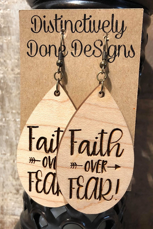 Laser Cut and Engraved Large Wood Earrings(Tap or click for options)