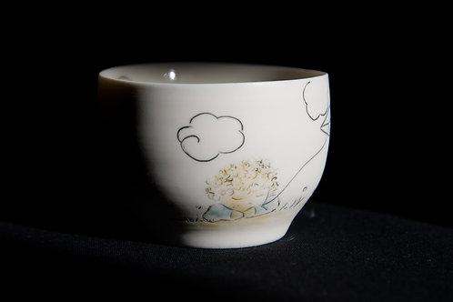 Bol en porcelaine décoré à la main, pièce unique, rêveur