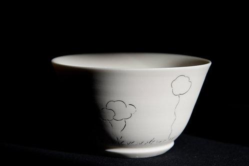 Bol en porcelaine décoré à la main, nuages